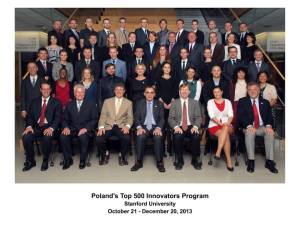 Poland's Top 500 InnovatorsProgram – Class of 40.7 (October 21 – December 20, 2013)
