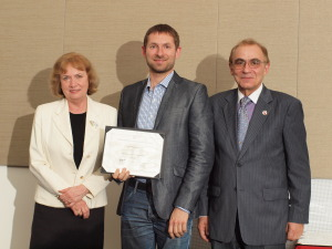 (from left) Ambassador Joanna Kozinska-Frybes, the Consul General of the Republic of Poland; Robert Bogdanowicz, Top 500 alumnus; Piotr Moncarz, the Academic Director of Top 500 Innovators Program
