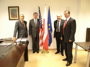 from left: Prof. Piotr Moncarz, Chairman of US-Polish Trade Council; Dr. Roman Trzaskalik, President of the Euro Centrum Science and Technology Park; Mirosław Bobrzyński, President of the Euro Centrum S.A.; Mariusz Tomaka, President of US-Polish Trade Council, Poland