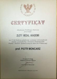 Złoty Medal Akademii - certyfikat