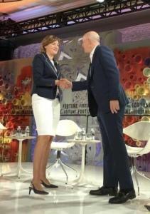 Aleksandra Gren with Goldman Sachs's CEO David Solomon